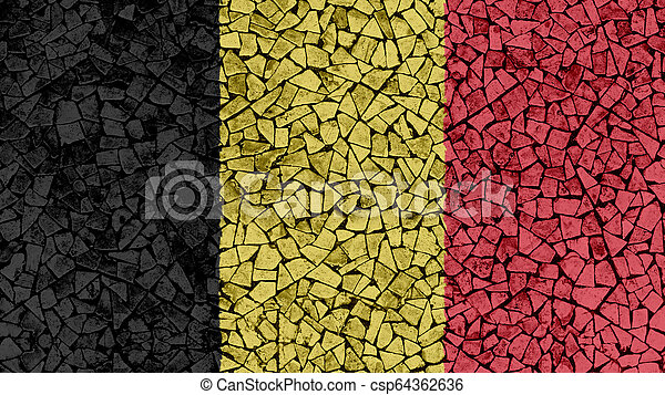 Mosaic Tiles Painting of Belgium Flag - csp64362636