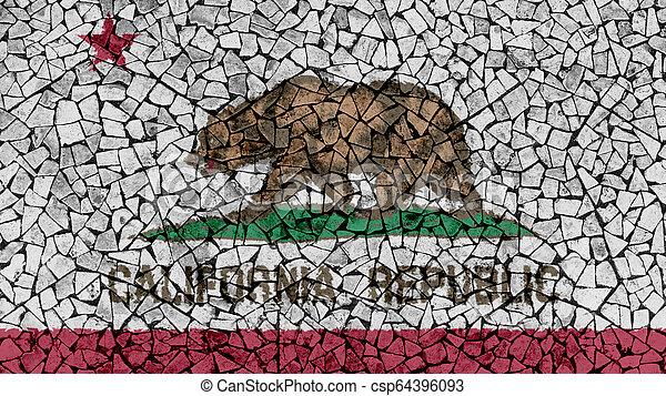 Mosaic Tiles Painting of California Flag - csp64396093