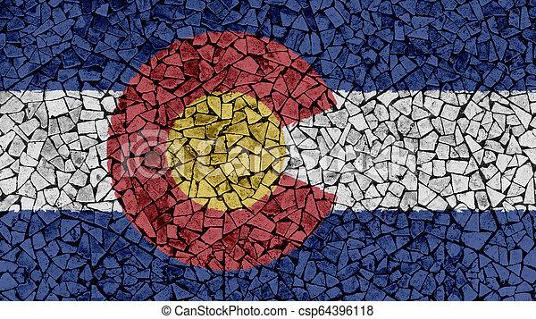 Mosaic Tiles Painting of Colorado Flag - csp64396118