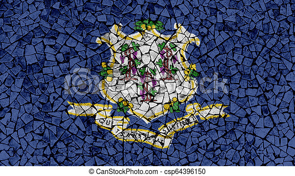 Mosaic Tiles Painting of Connecticut Flag - csp64396150