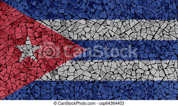 Mosaic Tiles Painting of Cuba Flag - csp64364403