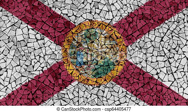 Mosaic Tiles Painting of Florida Flag - csp64405477