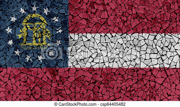 Mosaic Tiles Painting of Georgia Flag - csp64405482