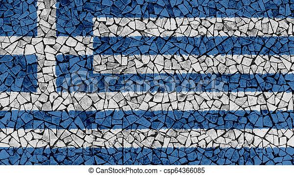 Mosaic Tiles Painting of Greece Flag - csp64366085