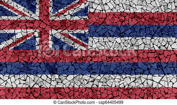 Mosaic Tiles Painting of Hawaii Flag - csp64405499