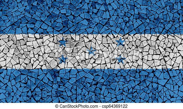 Mosaic Tiles Painting of Honduras Flag - csp64369122