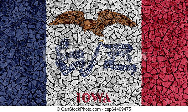 Mosaic Tiles Painting of Iowa Flag - csp64409475