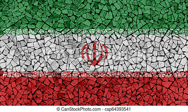 Mosaic Tiles Painting of Iran Flag - csp64393541
