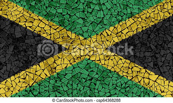 Mosaic Tiles Painting of Jamaica Flag - csp64368288