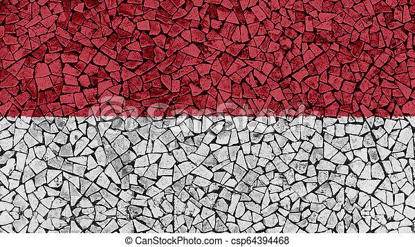 Mosaic Tiles Painting of Monaco Flag - csp64394468