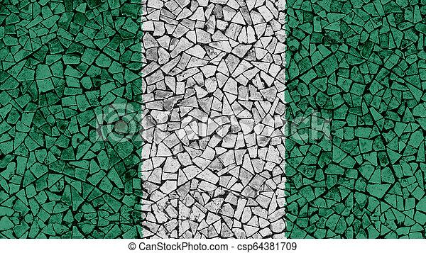Mosaic Tiles Painting of Nigeria Flag - csp64381709