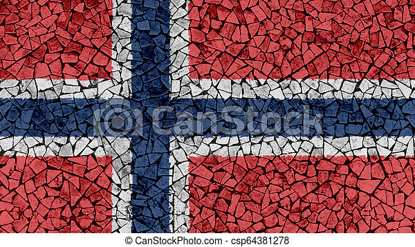 Mosaic Tiles Painting of Norway Flag - csp64381278