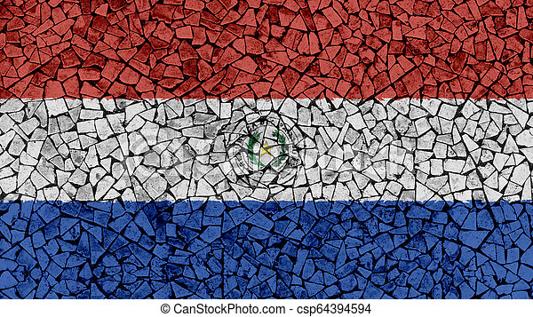 Mosaic Tiles Painting of Paraguay Flag - csp64394594