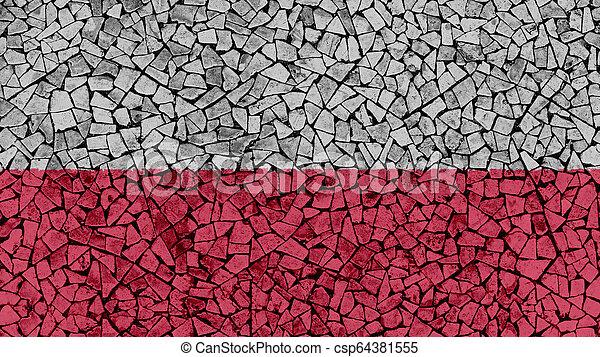 Mosaic Tiles Painting of Poland Flag - csp64381555