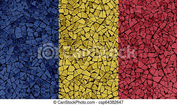 Mosaic Tiles Painting of Romania Flag - csp64382647