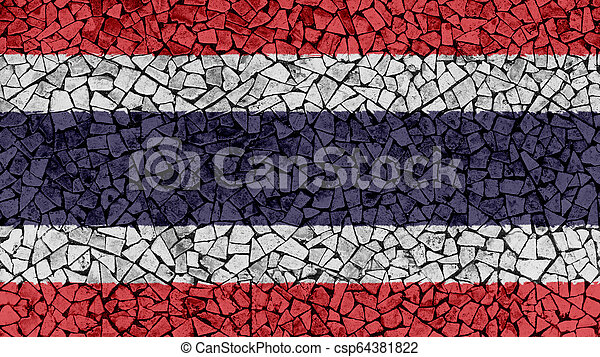 Mosaic Tiles Painting of Thailand Flag - csp64381822
