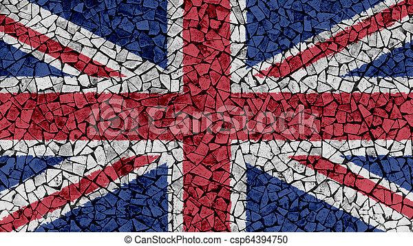 Mosaic Tiles Painting of UK Union Jack Flag - csp64394750