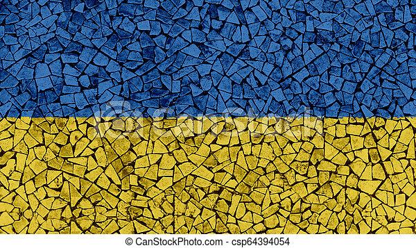 Mosaic Tiles Painting of Ukraine Flag - csp64394054