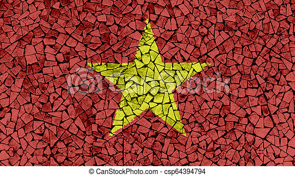 Mosaic Tiles Painting of Vietnam Flag - csp64394794