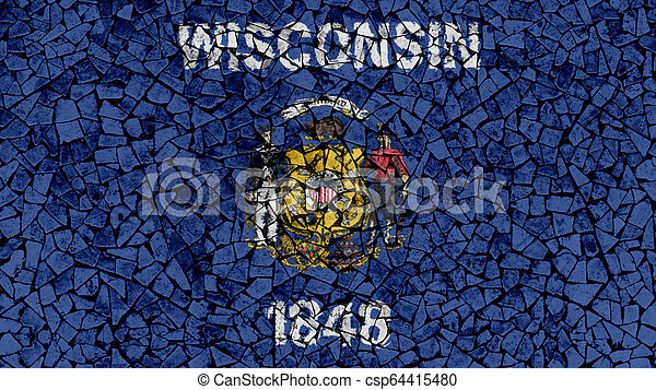 Mosaic Tiles Painting of Wisconsin Flag - csp64415480