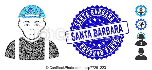 Mosaic Worker Icon with Scratched Santa Barbara Stamp - csp77291223