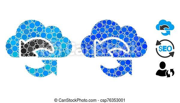 mosaico, icona, aggiornamento, cerchio, punti - csp76353001