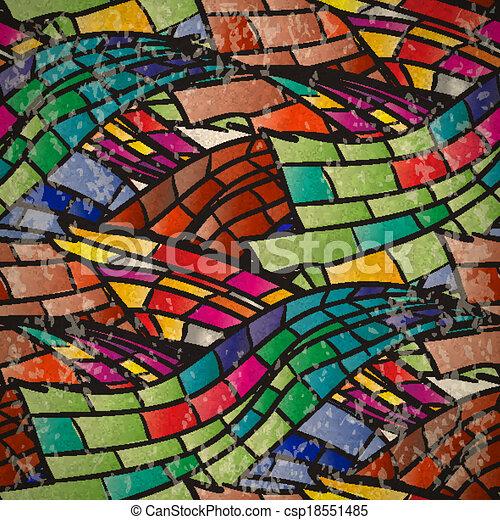mosaico, modello, seamless, colorito, onde - csp18551485