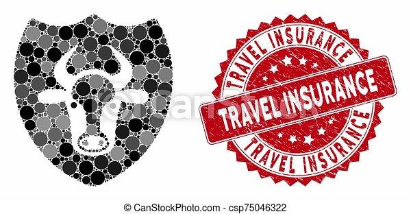 mosaico, protector, estampilla, viaje, grunge, toro, seguro - csp75046322