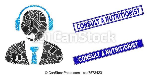 mosaico, rasguñado, rectángulo, apoyo, consultar, nutricionista, filigranas, director - csp75734231