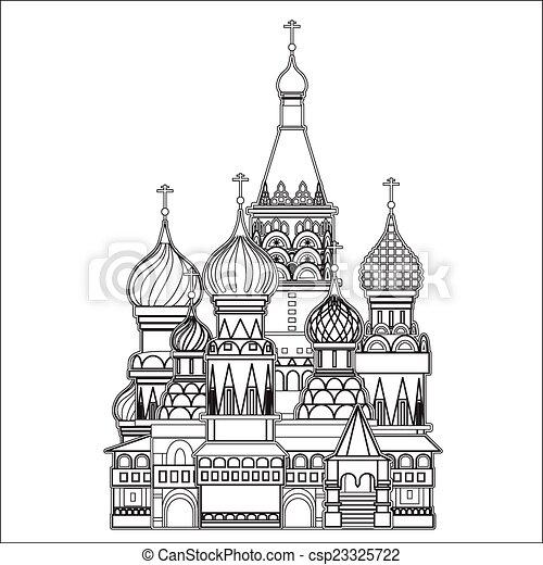 Catedral de la albahaca, Moscú, vector - csp23325722