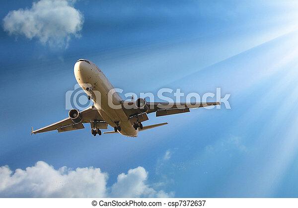 mosca, avião, céu - csp7372637