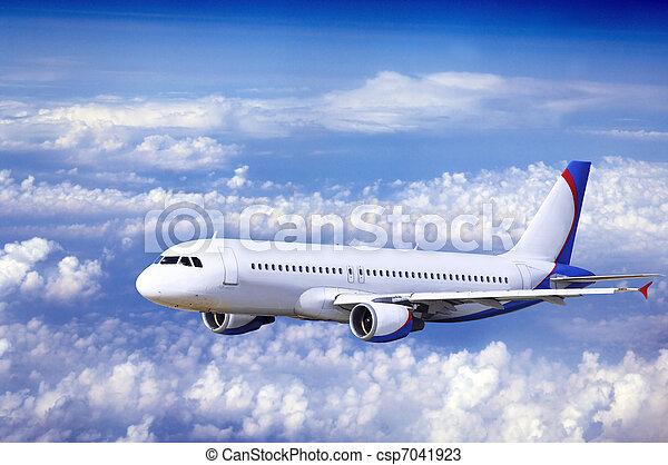 mosca, céu, avião, nuvens - csp7041923