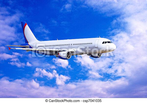 mosca, céu, avião, nuvens - csp7041035