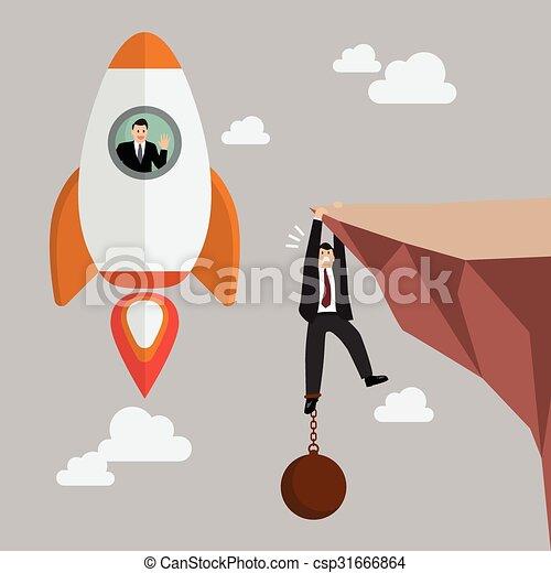 Hombre de negocios en un cohete pasa un hombre de negocios sostiene en el acantilado con carga - csp31666864