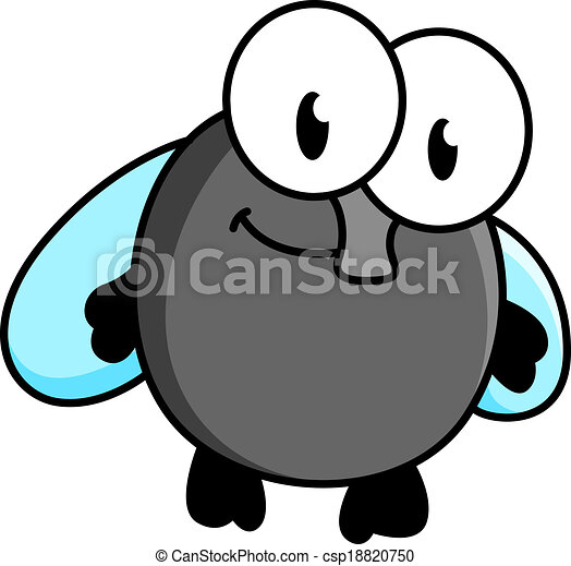 mosca, divertente, poco, cartone animato - csp18820750