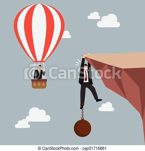 Hombre de negocios en globo aerostático pasa un hombre de negocios en el acantilado con carga - csp31716661