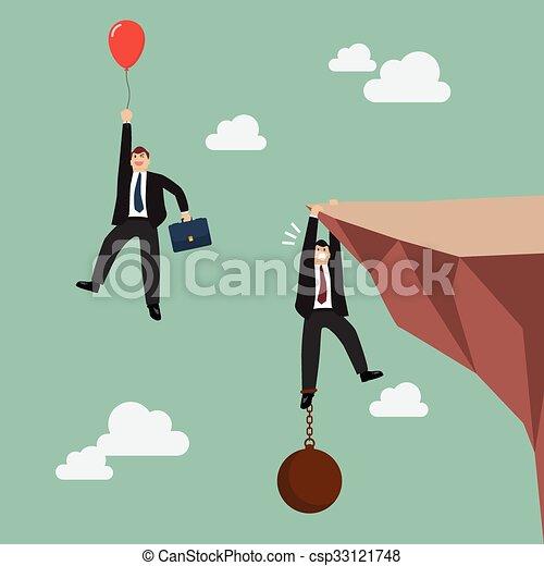 Hombre de negocios con globos rojos pasa el hombre de negocios sostiene en el acantilado con carga - csp33121748