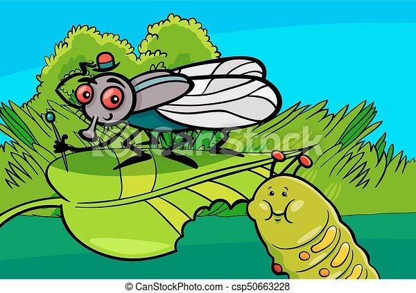 mosca, inseto, lagarta, caráteres, caricatura - csp50663228
