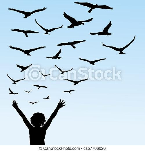 mosca, pássaros, aprendizagem, ilustração, criança - csp7706026