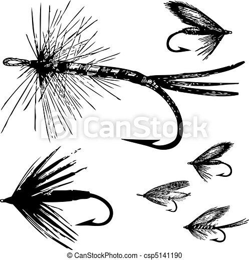 mosca, vettore, set, pesca - csp5141190