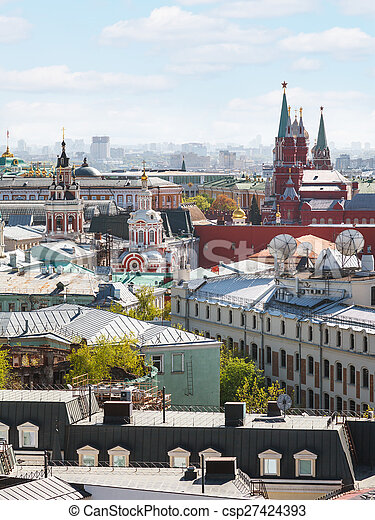 Moscow city cityscape with Kremlin - csp27424393
