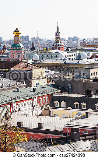 Moscow city view with Kremlin - csp27424398