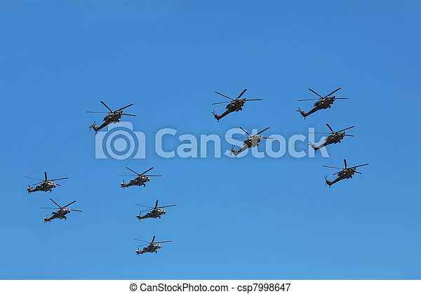 MOSCOW - MAY 9: Helicopters Mi-24 and Mi-28n on parade in honor of Great Patriotic War victory on May 9, 2010 in Moscow, Russia. This War is portion of WW II from June 22, 1941 to May 9, 1945 - csp7998647