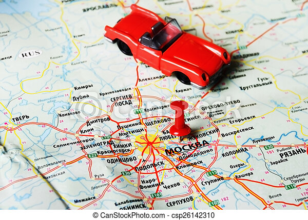 moscow , russia map car. Close up of moscow , russia map red pin and ...