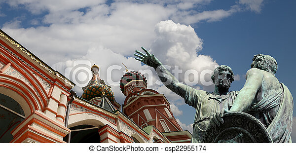 Moscow, Russia, Red Square, Cathedral of Intercession of Most Holy Theotokos on the Moat ( Temple of Basil the Blessed),   Minin and Pojarsky monument (was erected in 1818)    - csp22955174