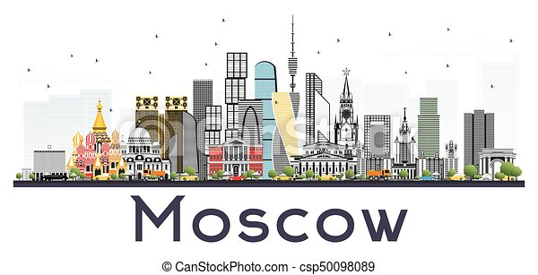 Moscow Russia Skyline With Gray Buildings Isolated On White
