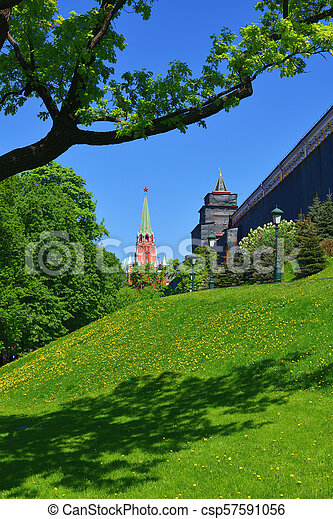 Moscow, Russia - view of Kremlin's Trinity Tower from Alexander Park - csp57591056