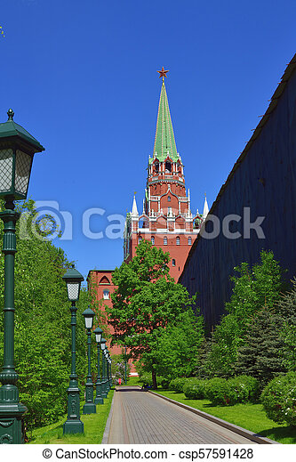 Moscow, Russia - view of Kremlin's Trinity Tower from Alexander Park - csp57591428