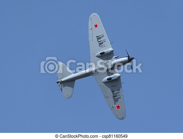 Moscow Russia Zhukovsky Airfield 31 August 2019: Restored Ilyushin Il-2 - WWII era USSR ground attack aircraft demonstration flight of the international aerospace salon MAKS-2019 - csp81160549
