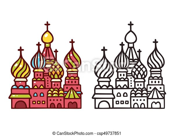 Moscow Saint Basil cathedral. - csp49737851